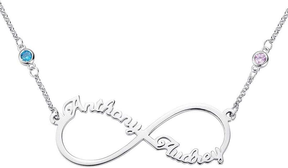 Stɑy Real Collares con Nombre Personalizado Infinito Collar con 2 Colgantes de Piedra Natal de Corazón Joyería de Navidad para Mujer, Mamá, Novia