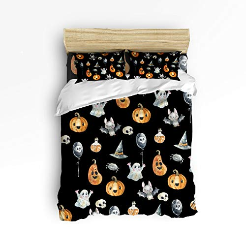 Ultimate Hat Witch Black - Clouday Twin Size Soft 4 Piece Duvet Cover Sets for Christmas,Halloween Style Pumpkin Bat Balloon Ghost Witch Hat Black Pattern Bed Sheet Set,Include 1 Flat Sheet 1 Duvet Cover and 2 Pillow Cases