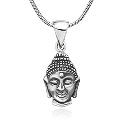 Amazon Chuvora 925 Oxidized Sterling Silver Buddha Face