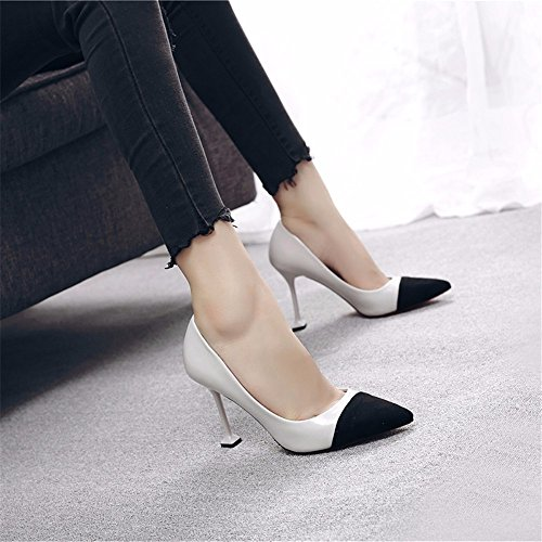 The Of Color Fall Women Shoes Heeled Grey Fine High Shoes Mouth The Wild The Single The Spell Shallow Shoes In HXVU56546 Wild With Cats With Tip New qdqCa