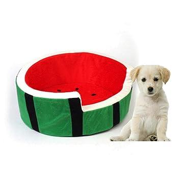 Accesorios para Mascotas: Pet House, Cat Kennel Dog Nest, Creative Fruit Sandía Modelado de Felpa Cama Desmontable de algodón para Gatos y Perros Dentro de ...