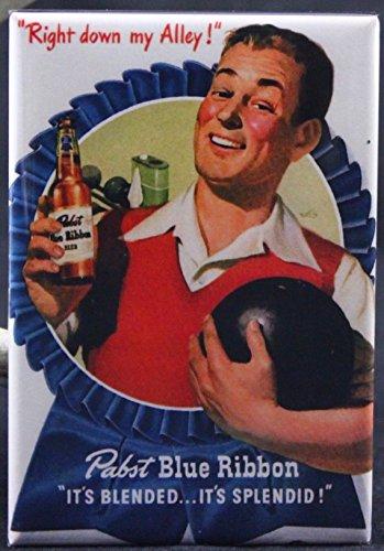 Bowling Magnet - Pabst Blue Ribbon Bowling & Beer Refrigerator Magnet.