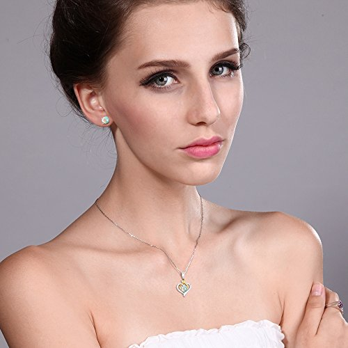 10K Two Tone Gold 2.00 Ct Cabochon White Simulated Opal Pendant Earrings Set by Gem Stone King (Image #2)