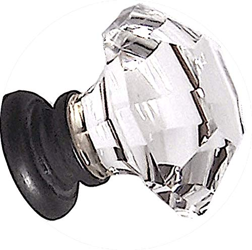 Two Oversized Asscher-Cut Old Town Lead Crystal BiFold /Wardrobe Knobs, almost 2