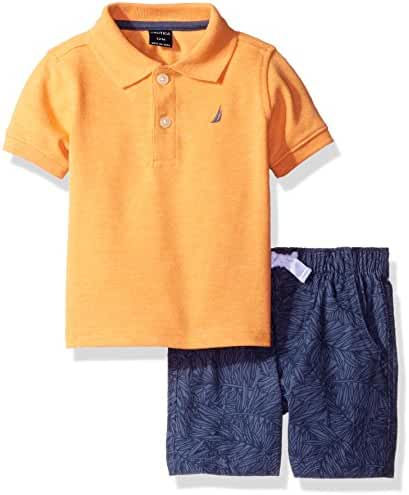 Nautica Baby Boys' Polo Shirt with Printed Pull on Short Set