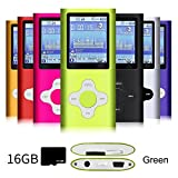 G.G.Martinsen Green Versatile MP3/MP4 Player with a 16GB Micro SD Card, Support Photo Viewer, Radio and Voice Recorder, Mini USB Port 1.8 LCD, Digital MP3 Player, MP4 Player, Video/Media/Music Player