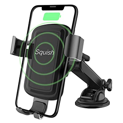 squish Wireless Charger Car Phone Mount, Qi Fast Charging Wireless Car Charger Mount 10W 7.5W, Cell Phone Holder for iPhone Xs Max/XS/XR/X/8Plus/8 and for Samsung S10/S9/S9+/S8/S8+/Note9/Note8 etc