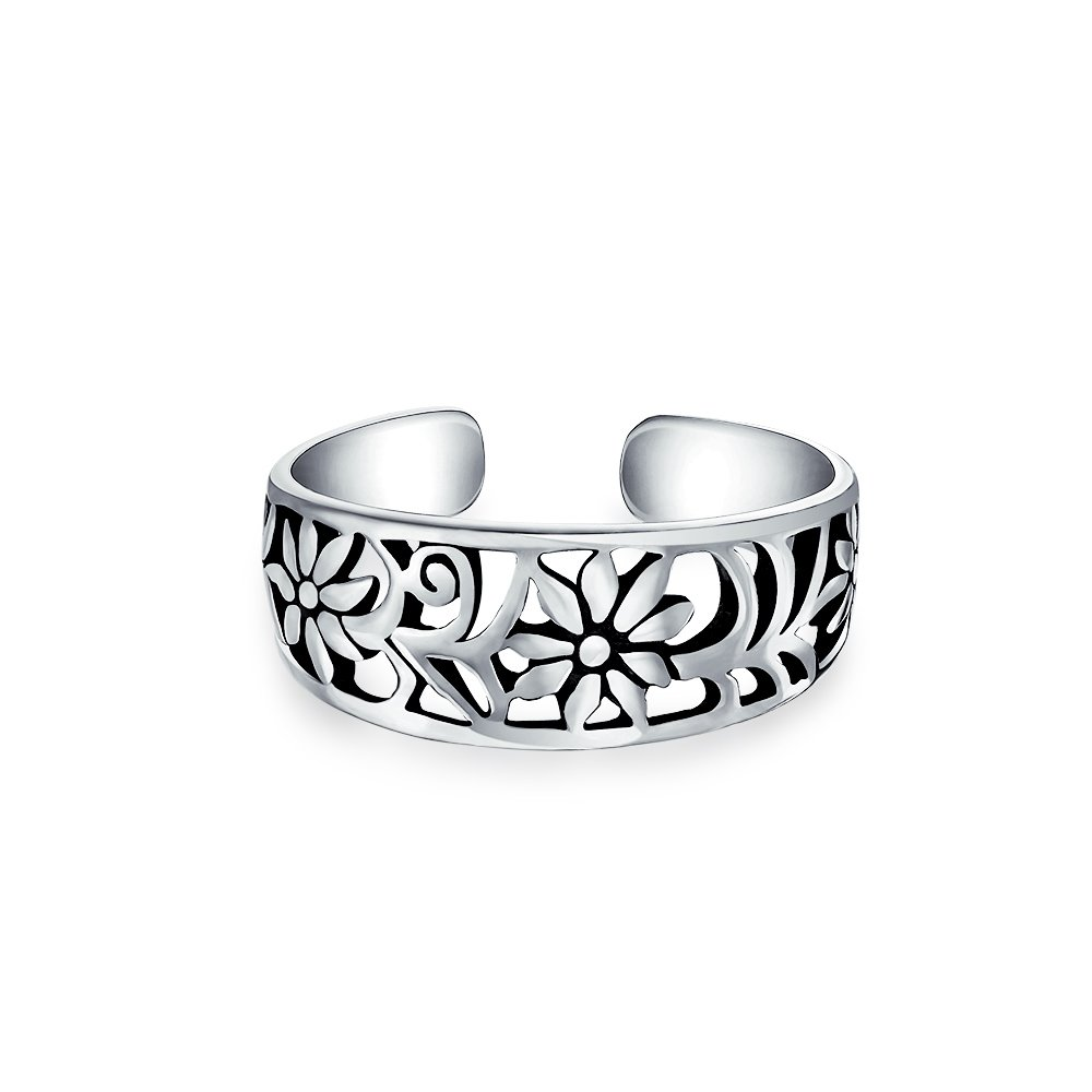 Adjustable Mid Finger Ring Flower 925 Silver Toe Rings Bling Jewelry PMR-R11269