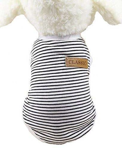 Sisha Summer Cotton Stripe Pet Vest Comfy Soft Classic Pet Dog Clothes for Small Dogs Cats Black L Biker Dog Vest