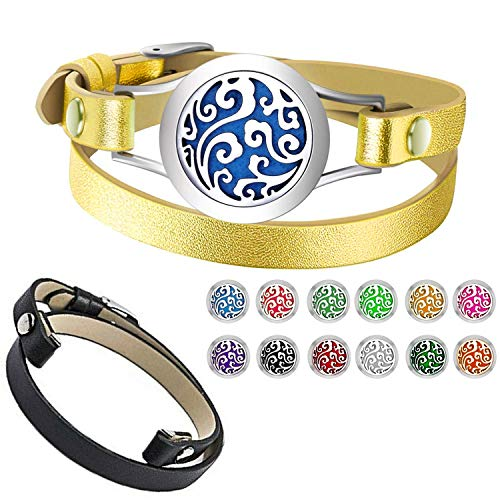 Essential Oil Diffuser Bracelet Aromatherapy Locket 2 Leather Bands 12 Color Pads Women Jewelry Gifts Set (Family Tree Diffuser Bracelet) (Cloudy Bracelet) (Pandora Staff Charm)
