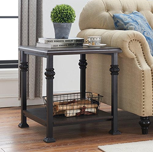 O&K Furniture Accent Side Table with Storage Shelf, Square Wood Night Stand for Bedroom and Living Room, Black-Espresso (Room Side Tables Square Living)