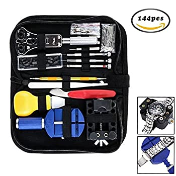 Dproptel 144PC Professional Watch repair Tool Kit, Watch Back Case Holder Opener Pin Link Remover Spring Bar Repair Tool Kit With Carrying Case