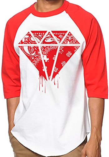CaliDesign White Red Bandana Hip Hop Baseball Jersey Raglan Urban Wear T Shirt, Extra Large - XL