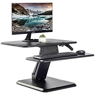 Standing Desk with Height Adjustable – FEZIBO Sit to Stand Black Desk Converter, Ergonomic Desktop Workstation Riser