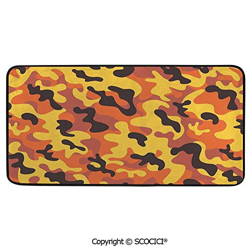 Rectangular Area Rug Super Soft Living Room Bedroom Carpet Rectangle Mat, Black Edging, Washable,Camo,Lively Colors Retro Style Camouflage Defense Hidden Soldier,39