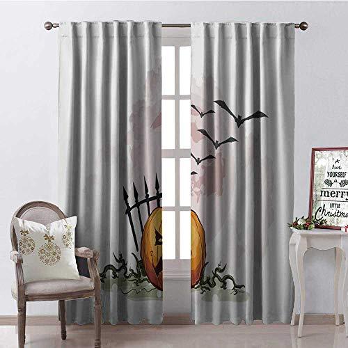 Hengshu Halloween Cartoon Pumpk Lantern Thermal Insulating Blackout Curtain Blackout Draperies for Bedroom W72 x -