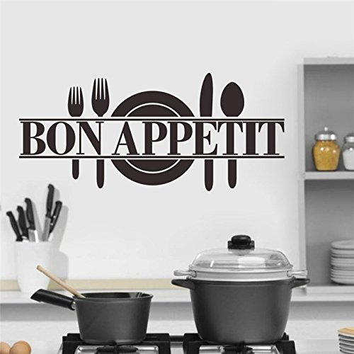 FunnyPicker Bon Appetit Food Wall Stickers Kitchen Room Decoration Diy Vinyl Adesivo De Paredes Home Decals Art - Whole Reading Glasses Foods
