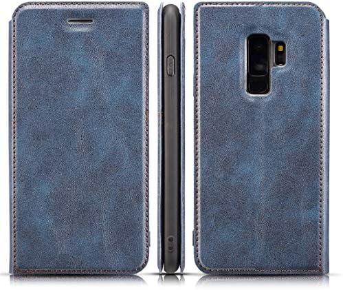 あなたの携帯電話を保護する Galaxy S9用レトロシンプルな超薄型磁気水平フリップレザーケース、ホルダー&カードスロット&ストラップ付き (色 : 青)
