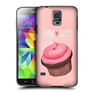 AIYAYA Samsung Case Designs Pink Cupcake Happiness Protective Snap-on Hard Back Case Cover for Samsung Galaxy S5