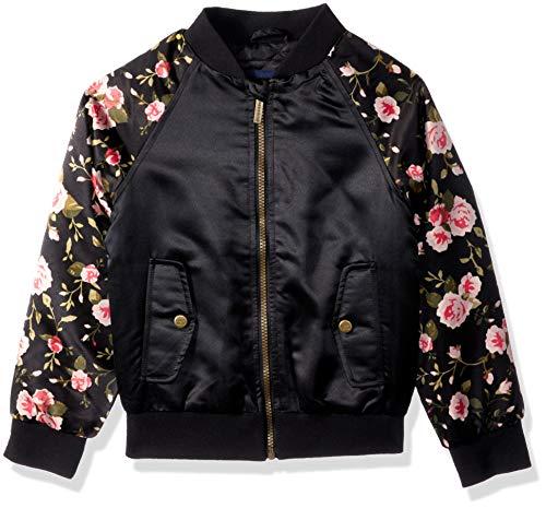 (Limited Too Girls' Big Bomber Jacket with Floral Print, Black,)