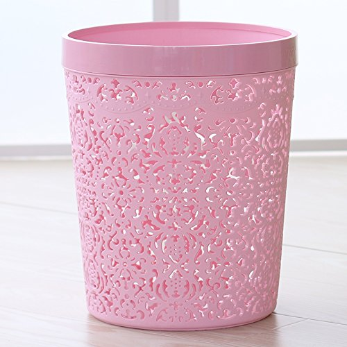 Dustbins Xiuxiutian Plastic ring cover health kitchen living room office wastebaskets 252030cm, Pink
