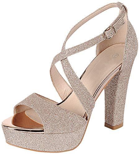 en's Peep Toe Crisscross Ankle Strappy Glitter Platform High Heel Dress Sandal (9 B(M) US, Champagne) ()