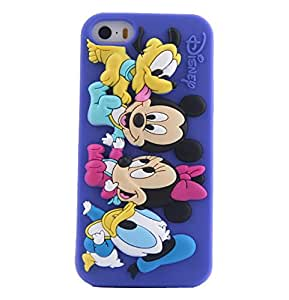 JBG Cute Lovely Cartoon Shadow Soft Silicone Rubber Back Case Cover Skin / For iPhone 5 5G 5S Disney Dark Blue