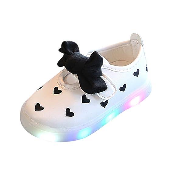 ❤ Lindos Zapatos para bebés, niños pequeños Bowknot niños Zapatos de corazón para bebés LED iluminan Zapatillas Luminosas Absolute: Amazon.es: Ropa y ...