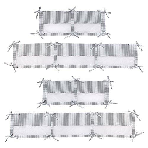 Zutano Elefant Blau Secure Me Crib Liner, White/Blue/Grey, 51