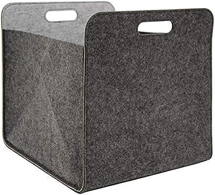 DuneDesign Caja Almacenamiento Fieltro 33x33x38cm Cesta Fieltro Caja Kallax Inserción en estanterías Gris: Amazon.es: Hogar