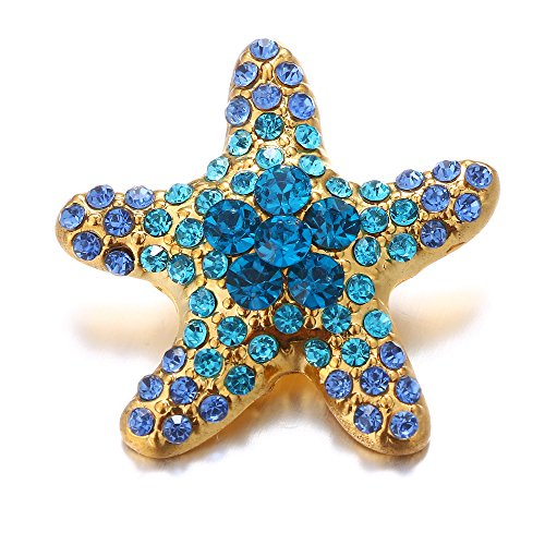 Fen Fun Starfish Crystal 10pcs/Set Chunk Charm Ginger Snap Button Fit for 18MM Noosa Jewelry Bracelet/Necklace/Earring/Rings (Blue)