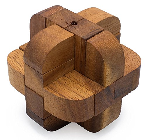 Neutron: Handmade & Organic 3D Brain Teaser Wooden Puzzle for Adults from SiamMandalay with SM Gift Box(Pictured)