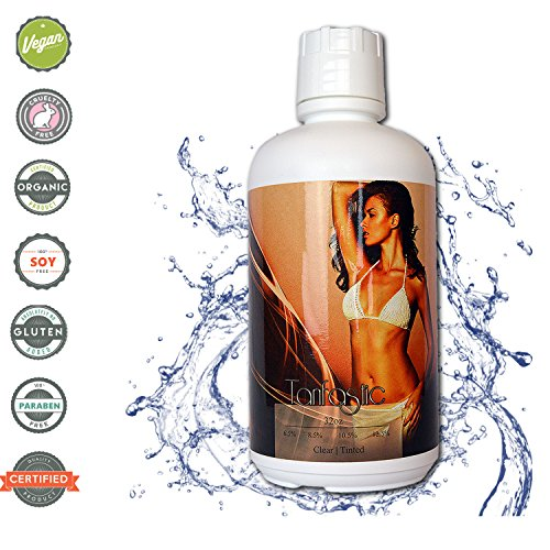 TanFastic Long Wear 8.5% Medium Skin Type DHA Sunless Airbrush Spray Tanning Solution - CLEAR, TINT FREE (Has no brown tint added) -1 Gal (4-32 oz)