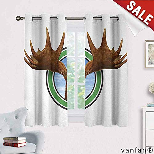 Big datastore Moose, Curtain Wand,Symbolic Northern Fauna Icon with Deer Head Humorous Natural Preservation Image, Multicolor Printed, W55 x L63 Green Brown ()