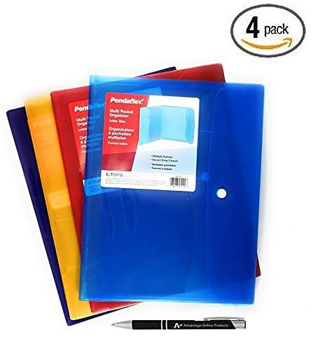 Value Bundle Pendaflex Poly Multi-Pocket Organizer, Letter Size with Snap Closure, 4 Separate Colors, (85192T) with Bonus AdvantageOP Black and Chrome Retractable Pen (4 - Navy Blue Chrome Pen