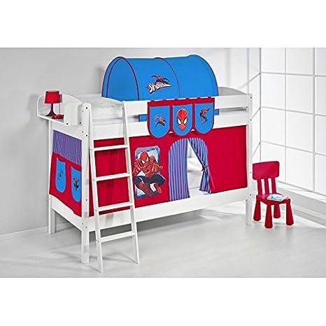 Accessori Per Letti A Castello.Letto A Soppalco Set Spiderman Rosso Blu Letto A Castello Bambini