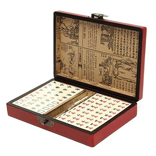144 Tiles MahJong Set Multi-color Portable Vintage Mahjong Rare Chinese Toy with Leather Box - Vintage Mahjong