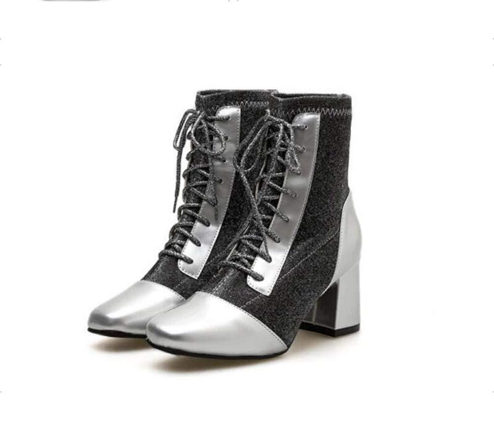 Frauen Knöchel Stiefelie Cross Straps Martin Stiefel 7Cm Chunkly Ferse Nähen Gelegenheits-Roma-Schuhe EU-Größe 35-40