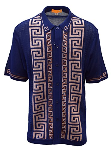 SAFIRE SILK INC. Edition S Men's Short Sleeve Knit Shirt- California Rockabilly Style: Versace Inspired