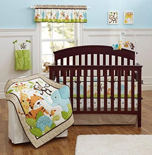 Jungle Baby Bedding - Brandream Crib Bedding Sets for Boys with Bumpers Nursery Jungle Baby Bedding Crib Set, Elephant Monkey 9PCS, Unisex