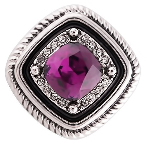Lovmoment New Snap 20MM Square Snap Silver Antique Plated with Purple Rhinestone Snaps Jewelry