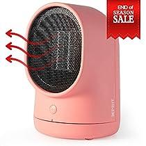 XPRIT Desktop Space Heater Cute Design Ceramic Heater w/Auto Oscillating Pink