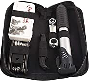 Mini Bike Pump & Glueless Puncture Repair Kit, Mini Bicycle Tire Pump, Fits Presta &