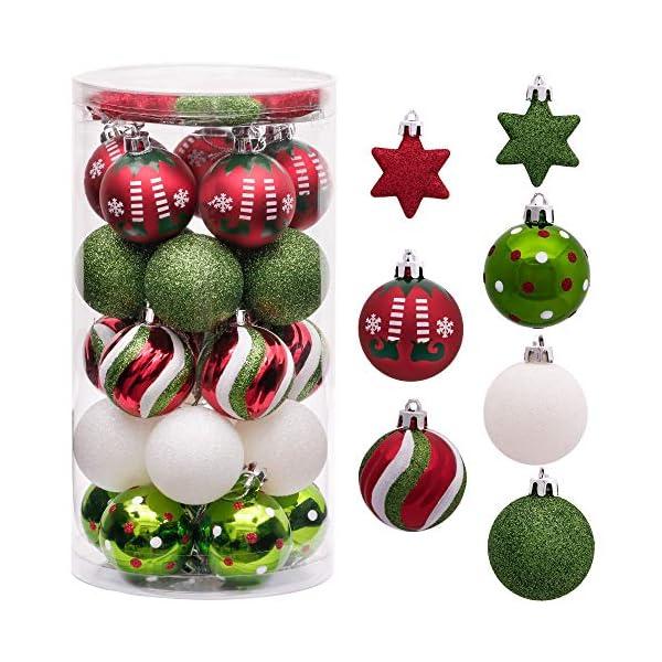 Victor's Workshop Addobbi Natalizi 35 Pezzi 5cm Palle di Natale per Albero, Delizioso Elfo Rosso Verde e Bianco Infrangibile Palla di Natale Ornamenti Decorazione 1 spesavip