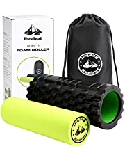 REEHUT 2 in 1 Foam Roller - Trigger Point Rollers for Deep Tissue Muscle Massage for Painful Release, Tight Muscles Rehabilitation - Free 18 Page Instruction E-book & Carry Bag