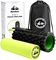 REEHUT Foam Roller - 2 in 1 Trigger Point Exercise Roller, High Density Muscle Roller with Carry Bag for Deep