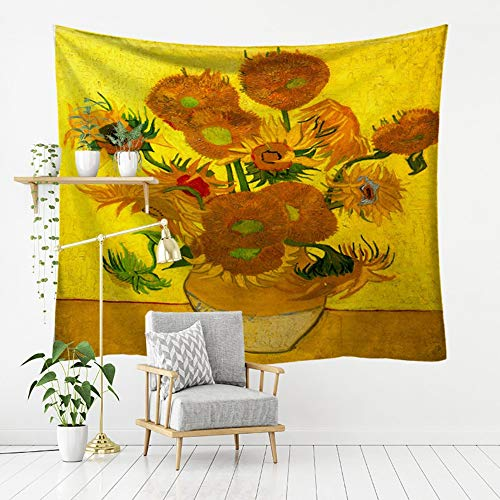 Tapestry Wall Hanging, Famous Painting of Vincent Van Gogh,Golden Sunflowers,Bohemian Hippie Spiritual Print Fabric,Large Size Art Decorative Cloth for Living Room Bedroom,200 × 150 cm