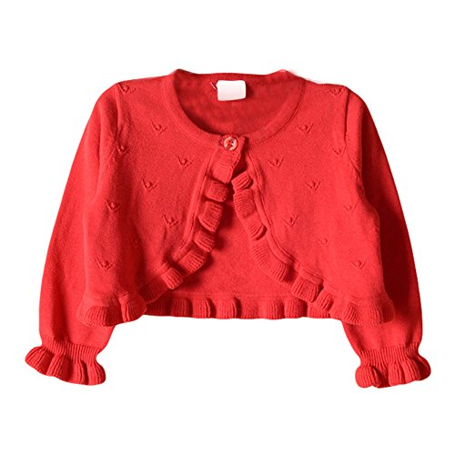 s Princess Cardigan Button Sweater Knit Ruffle Bolero Shrug for Dresses Cover up Red 70 ()
