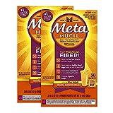 Metamucil Multi-Health Psyllium Fiber Supplement Powder with Real Sugar, Orange Flavored, 30 packets