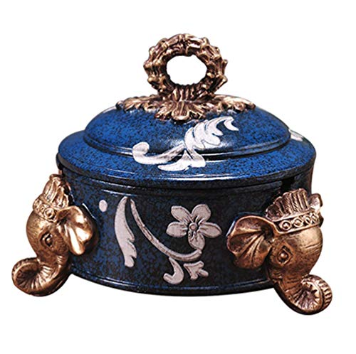 (Hushfly Cigarette Ashtray with Lid Decorative Tabletop Ash Tray for Home (Navy))